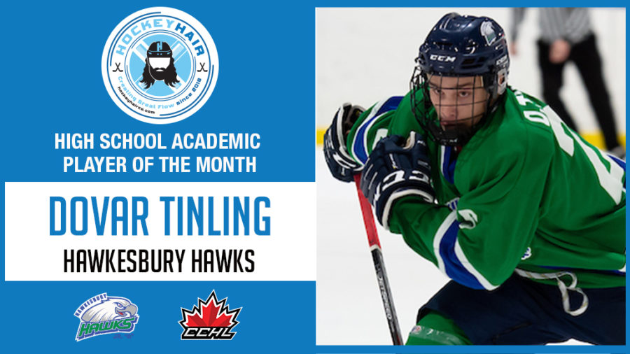 Release   Dovar Tinling named HockeyHair Academic High School Player of the Month